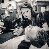 Pall Mall Barbers - Erin giving a fantastic wet shave. - London, United Kingdom