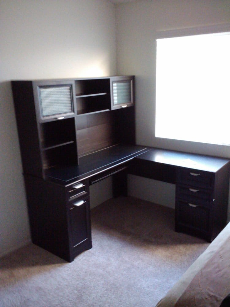 office depot l desk with hutch yelp. Black Bedroom Furniture Sets. Home Design Ideas