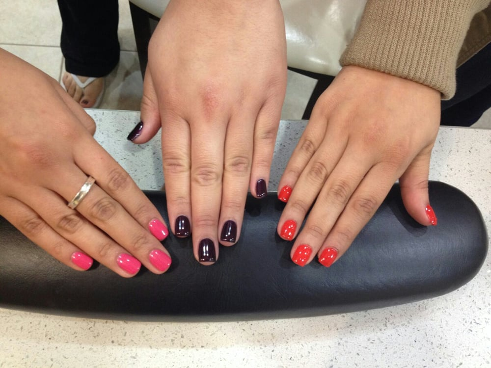 Kayla Nails - San Jose, CA, United States. Pink Shellac, dark purple