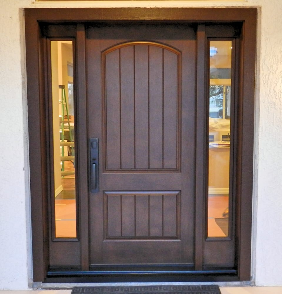 Exterior glass doors business - Thermatru Classic Craft Rustic Door With Two Low E Glass Sidelights