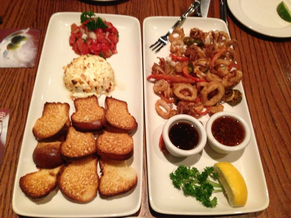 ... . Appetizers - calamari and baked goat cheese w/tomato basil salsa