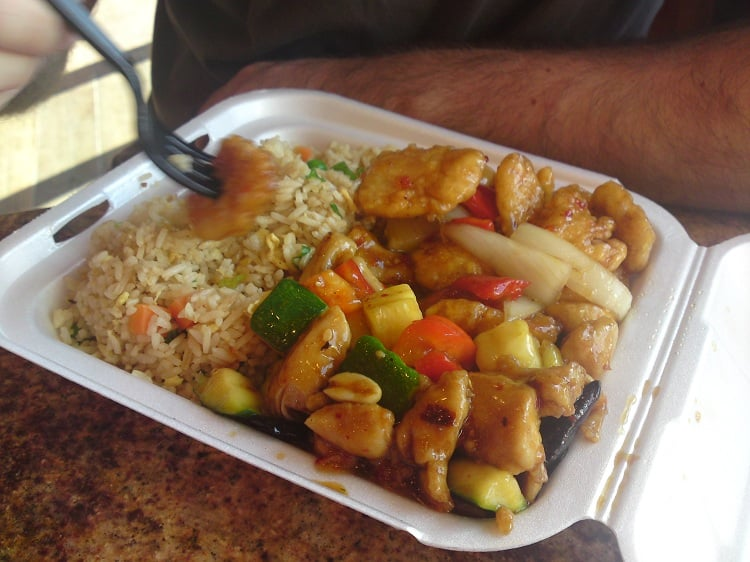Fried Rice with Kung Pao Chicken & SweetFire Chicken. | Yelp