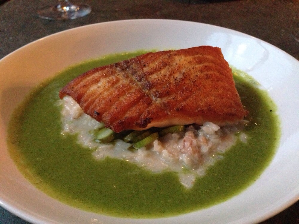 ... , VA, United States. roasted salmon, coconut, crab, rice, herb broth