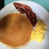 This is the kids meal:one egg, bacon & one pancake--generous size & kids love it