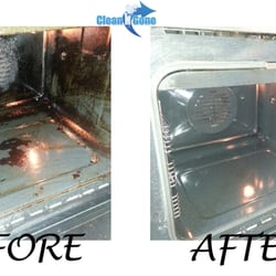 Oven cleaning - before & after