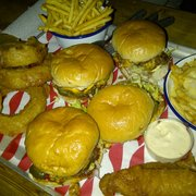Burgers, onion rings, fried pickles,…