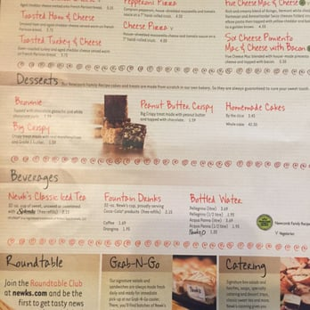 graphic relating to Newks Printable Menu named NEWKS EATERY MENU PDF -