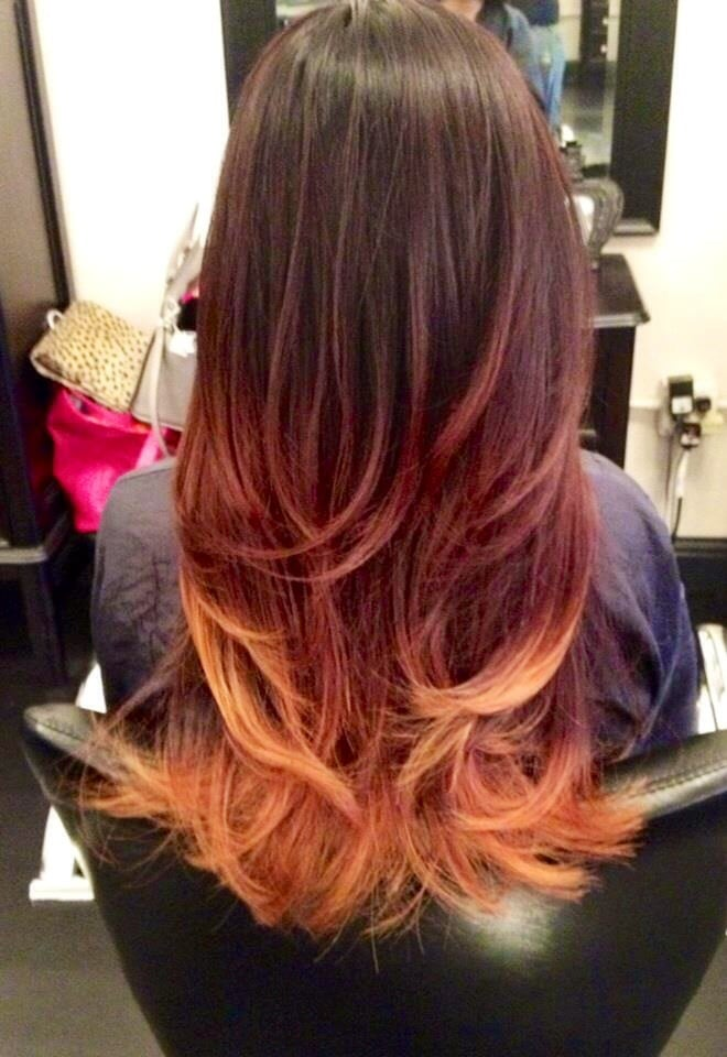 Striking Dark Brown Red Into Blonde Ombr 233 Yelp