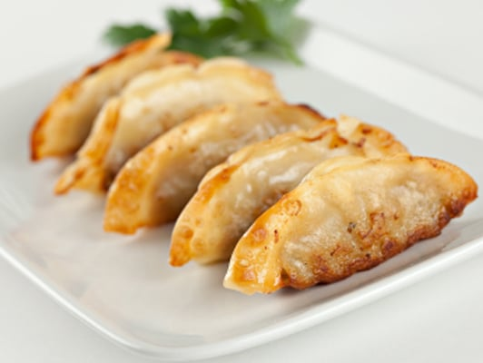 ... Pan-fried pork and vegetable dumplings with ponzu dipping sauce...an