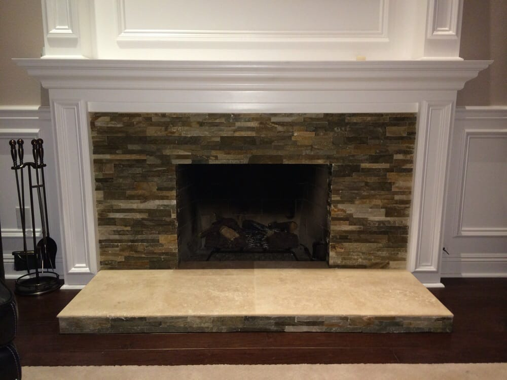 Stone And Travertine Over And Old Brick Fireplace 2 Yelp