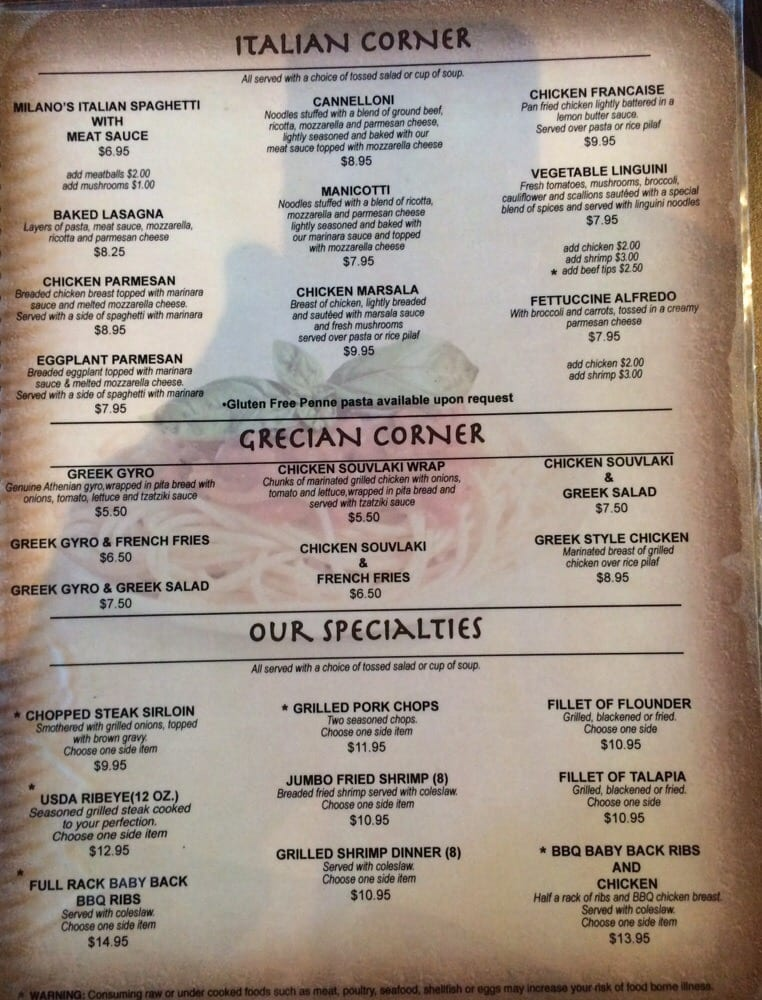 Corner Cafe Menu In Griffin Ga