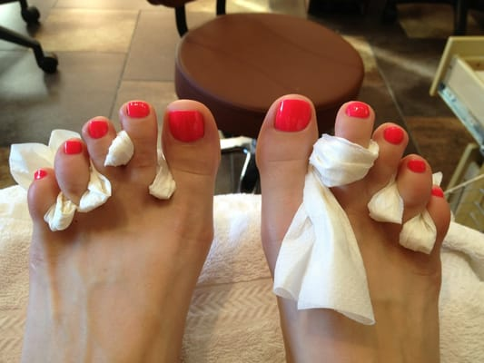 Palo Alto Central Nails - Bright hot pink for my toes! Very well done