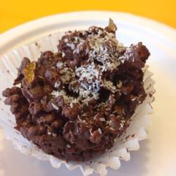 Chocolate vegan rice crispy treat.
