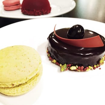 ... feuilletine, chocolate bombe, pistachio and cherry cordial macarons