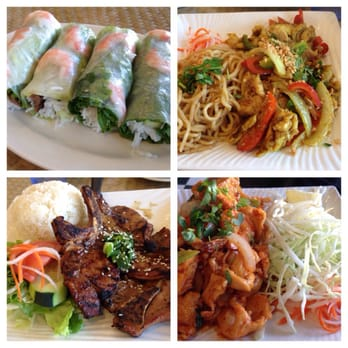 Spring Rolls, Garlic Noodles with Lemongrass chicken, Grilled ...