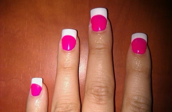 Hot Pink French Tip Acrylic Nails Hot Pink Acrylic Nail Tips