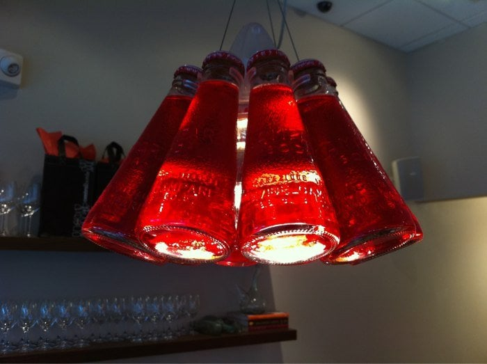 Hanging lamps made out of italian soda bottles yelp for Lamps made out of wine bottles