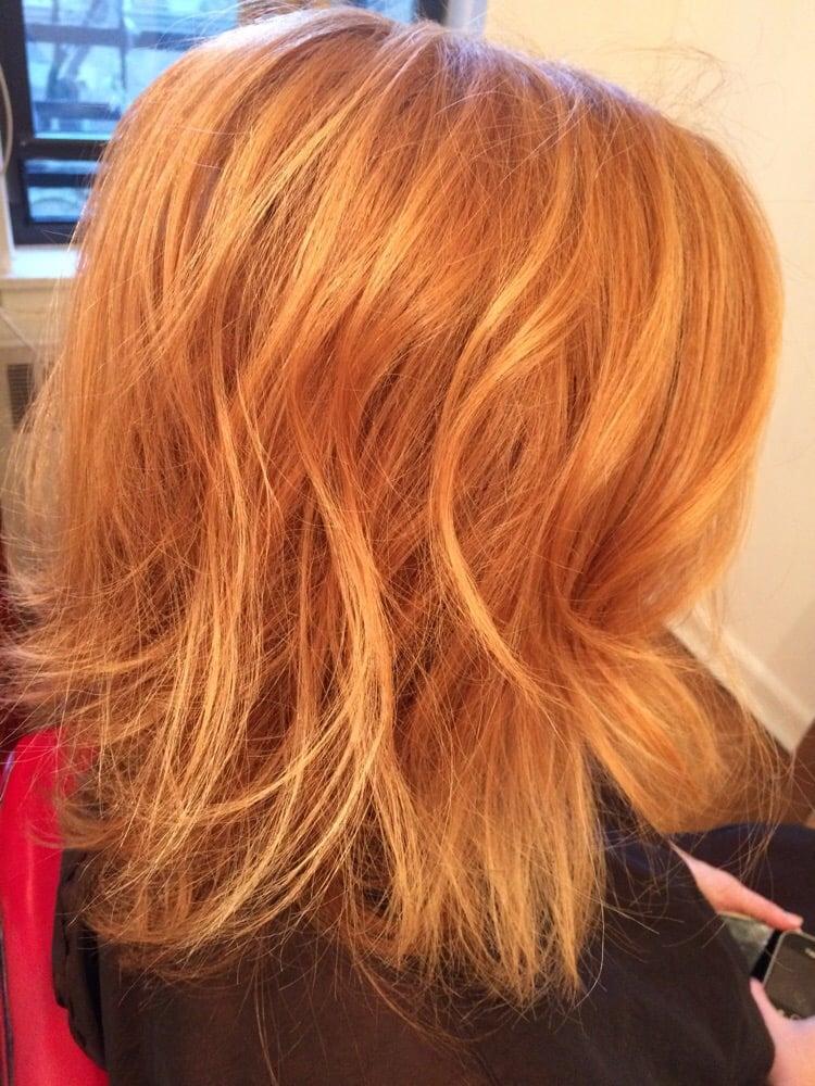 Strawberry Blonde With Caramel Highlights | Dark Brown Hairs