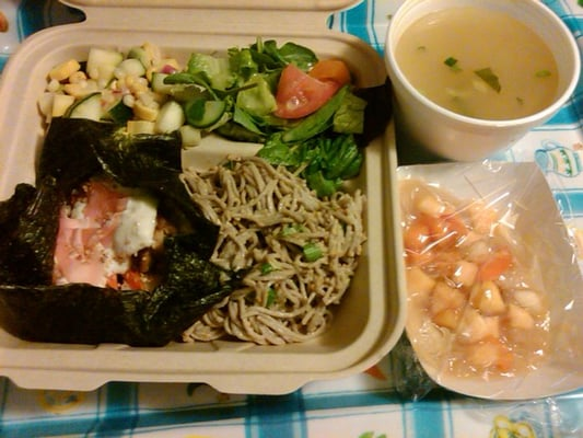 Miso soup tofu bean sprouts napa cabbage, nori w tempeh, rice, ginger ...