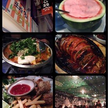 Pocha 32 - Watermelon soju, budaejijae, squid soondae, fried wings ...