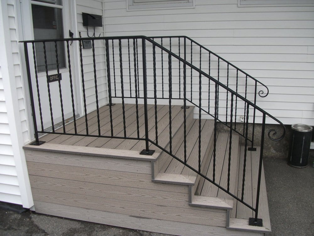 Exterior wrought iron handrails on composite steps yelp - Exterior wrought iron handrails for steps ...
