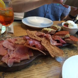 Antipasti board of parma, milano, speck, sun blush tomato and artichoke pastes, buffalo mozzarella etc. heaven!!!