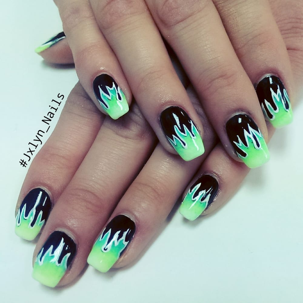 Las Vegas, NV, United States. Flame nail art and ombre gel mani by