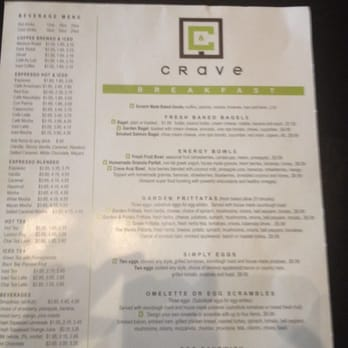 Crave Cafe Menu Santa Ana