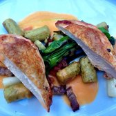 Roast chicken with leeks and gnocchi