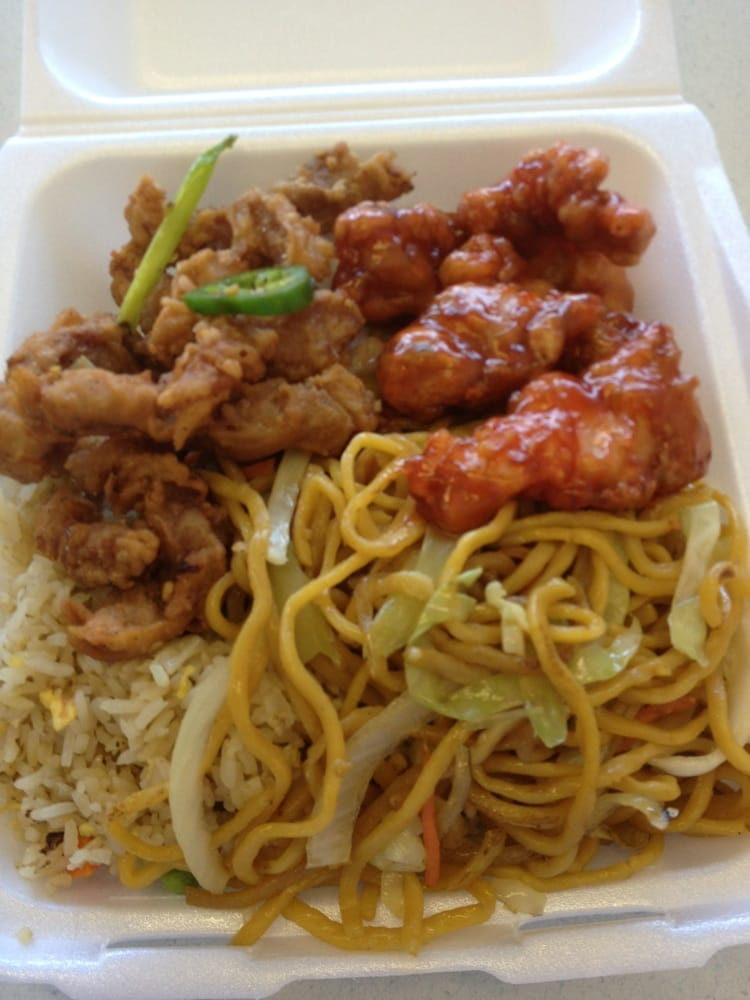 fried pork orange chicken noodles and fried rice 7 yelp