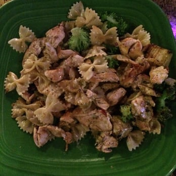 Fire and Ice - Bow tie pasta, chicken, broccoli, eggplant and pesto ...