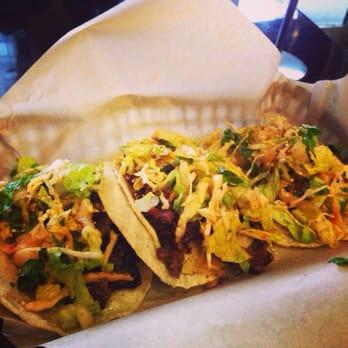 Korean BBQ tacos: kalbi, BBQ pork, and sesame-chili shrimp