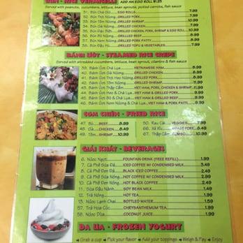 Pho Cafe Baton Rouge Menu