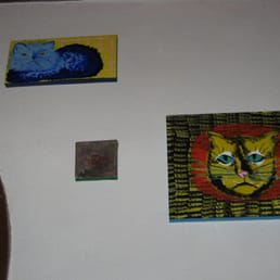 Pure Luck Restaurant - Los Angeles, CA, United States. Interior - Most Awesome Cat Paintings EVER