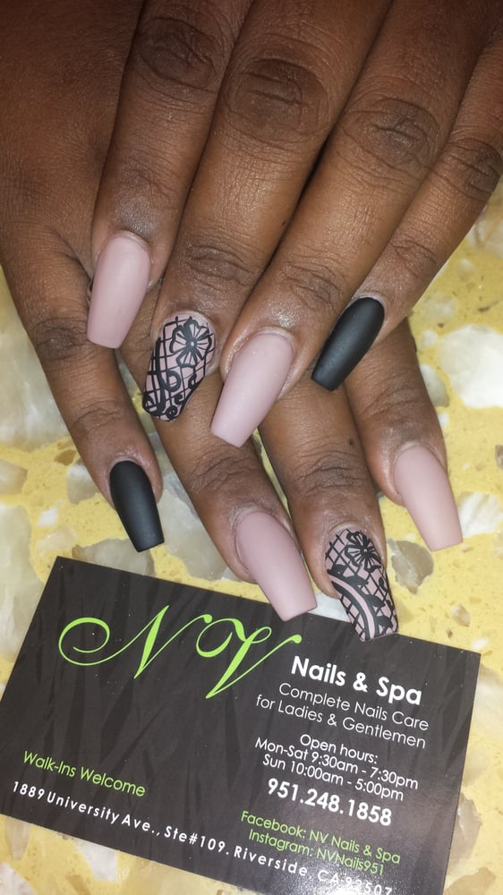 NV Nails & Spa - Riverside, CA, United States. Coffin nails and Matte ...