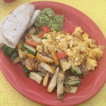 Estia's Little Kitchen - Sag Harbor, NY, United States. Scrambled tofu and veggie dish with black bean spread filled tortillas. Delicious.