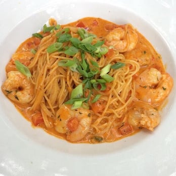 ... States. Angel hair pasta with shrimp, tomatoes and creamy Cajun sauce
