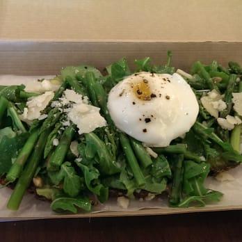 ... York, NY, United States. Avocado and Asparagus Tartine from Tartinery