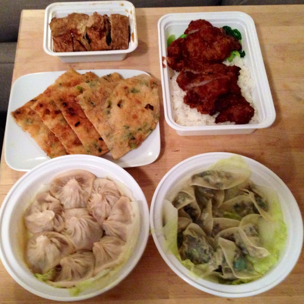 ... tofu skin), pork chops on rice, scallion pancakes, soup dumpling, veg
