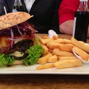 Man Sized Double Decker Big Kahuna Burger with Bacon and Fries!