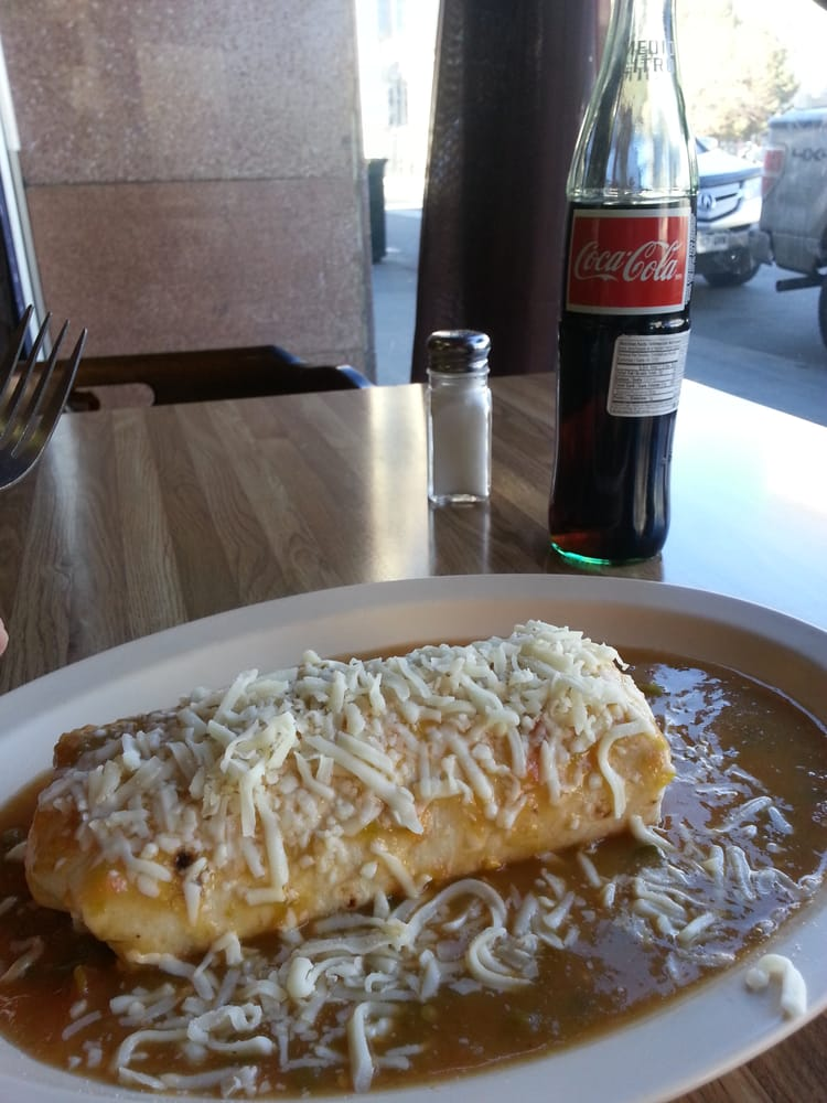 La Abeja - Denver, CO, United States. Breakfast burrito, smothered and bottled Coca Cola!