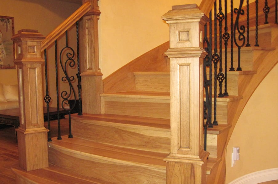 Custom Box Newel Posts With Iron Balusters On Curved