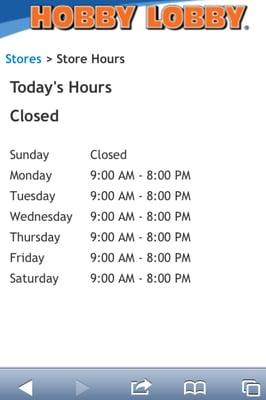 Hobby lobby holiday hours