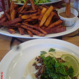 Pure Luck Restaurant - Los Angeles, CA, United States. Jackfruit taco and ADDICTING sweet potato fries + vegan bbq mayo =]