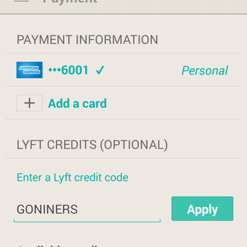 How to use a Lyft coupon Use your online coupons to save up to $25 off your first ride with Lyft. Download the app and apply the Lyft promo code in the payments section to save.