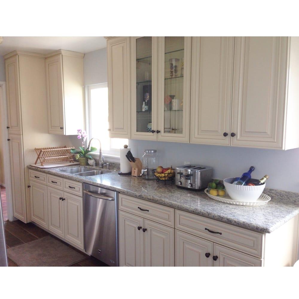 "San Jose Kitchen Cabinets: We Chose Cream Maple Cabinets And Upgraded The Granite Countertop To ""santa Cecilia"" I Couldn't"