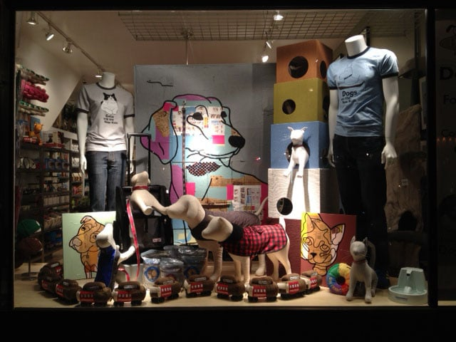 one of our famous window displays showing our dogs are