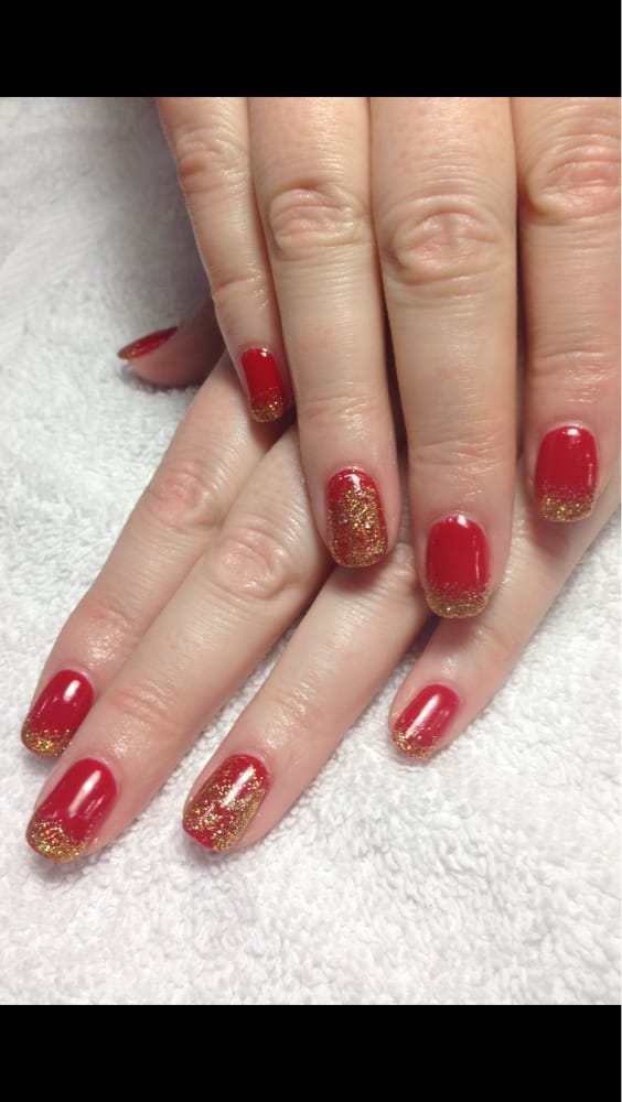 Red And Gold Shellac Nails Red Shellac And Gold
