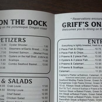 Griff s on the dock 42 photos fish chips port for Docks fish menu