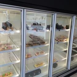 The fridges with dessert.